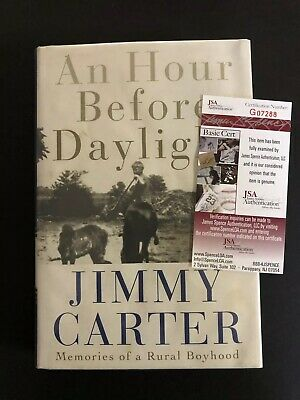 Signed Jimmy Carter Book An Hour Before Daylight Autographed H/C JSA Certified