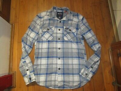 mens superdry Milled Flannel Shirt size medium new with tags blackwell blue whit