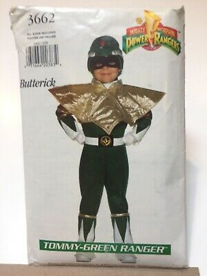 Butterick 3662 Costume Sew Pattern Power Rangers Tommy Green Ranger Child 4-14