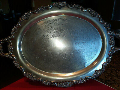 "Vintage Large Towle Footed Silver Plated # 6955 Waiter Serving Platter   ""Nice"""