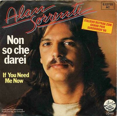 "7"" Alan Sorrenti: Non so che darei / If You Need Me Now - 1980"