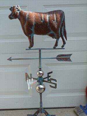 Cow Weathervane Antique Copper Finish Calf Weather Vane Hand Crafted