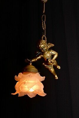 Vintage French bronze cherub chandelier with shade France