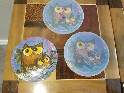 3 Vintage Folgers Mountain Grown Coffee Halloween owl Can Lid covers decoration