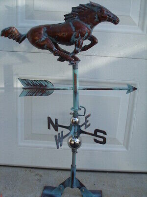3D Racing Horse Weathervane Ant. Copper Finish Horse Weather Vane HandCrafted