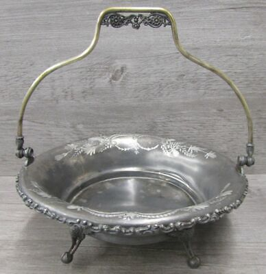 Victor Silver Co Antique Dish With Bail Handle Quadruple Plated Floral Design