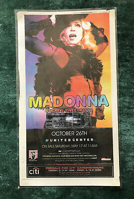 Vtg 2008 MADONNA Sticky & Sweet Ticket Stub And Poster Laminated Chicago