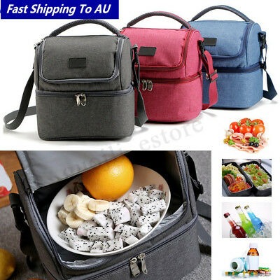 Dual 7L Compartments Insulated Lunch Bag Tote Container Kid School Picnic Cooler