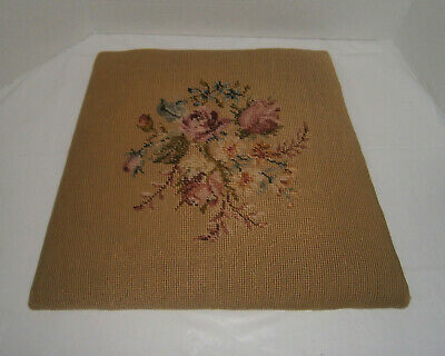 Vintage CHAIR SEAT CUSHION Needlepoint Tapestry Embroidery Roses Floral On Board
