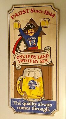 "Pabst Blue Ribbon Advertising Sign, Beer, PBR One if by Land Wood 11""x 24"""