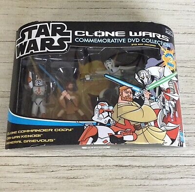 Star Wars Clone Wars Commemorative DVD Collection Cody Obi Wan Grievous MIP
