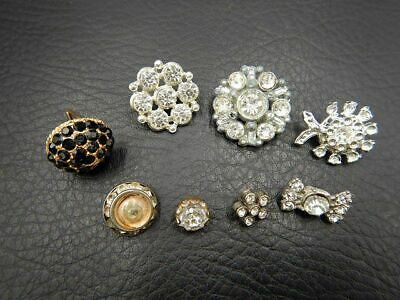 Vintage Buttons Set of 8 All w/ Clear or Black Glass Rhinestones
