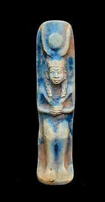 Rare Isis Faience Egyptian Ancient Antique  Statue of Goddess Hathor Ptolemaic