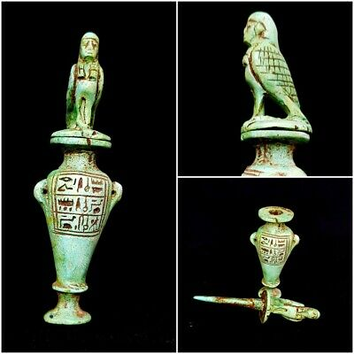 Rare Ancient Egyptian Kohl Vessel Faience make up Offertory vase hieroglyphic