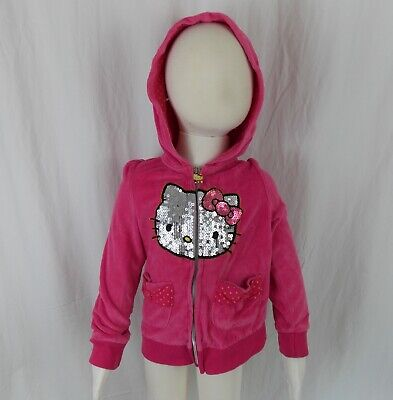 HELLO KITTY Girls Sz 4 Hot Pink Sequined Cat Hooded Velour Sweat Jacket Zip Up