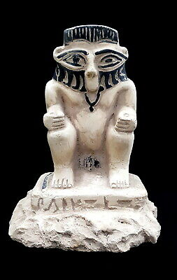 Very Rare Bes Egypt Ancient Antique Faience Egyptian Stone statue hieroglyphic