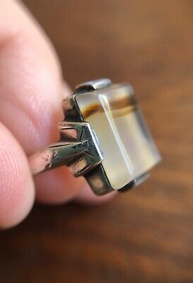 Vintage Antique  Art Deco Ring Picture Moss Agate Sterling Silver