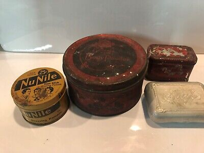 4 Antique Tins Cosmetic Powder Hair Soap Advertising Medicine