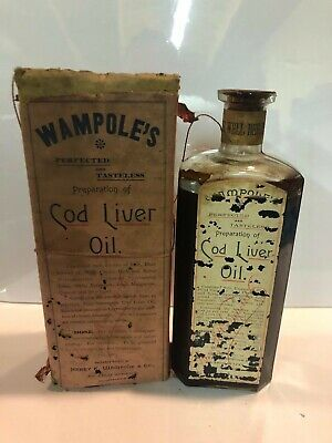 Wampoles Cod Liver Oil Antique Medicine Bottle Pharmacy Druggist Apothecary