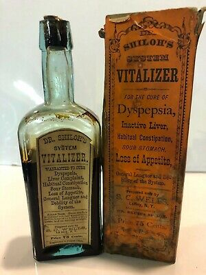 Dr Shilohs System Vitalizer Antique Medicine Bottle Pharmacy Druggist Apothecary