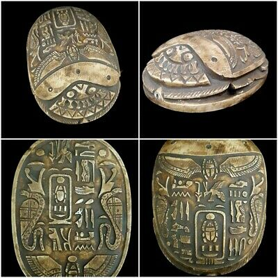 Very Rare Huge Ancient Egyptian Scarab ANTIQUE AMULET BEAD Steatite hieroglyphic