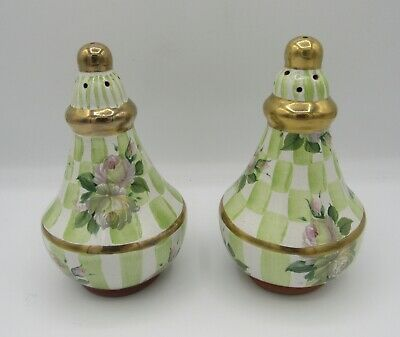 MacKenzie-Childs Sweet Pea honeymoon/green check gold salt/pepper shakers