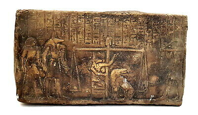 Very Rare Anubis Egyptian Plaque Wall Ancient Relief The trial of the dead Stela