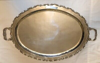 """Sterling Silver Large Oval Scalloped Edge Serving Tray with Handles 22"""""""