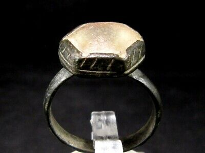 Amazing Large Byzantine Bronze Ring, Pink Glass Stone+++