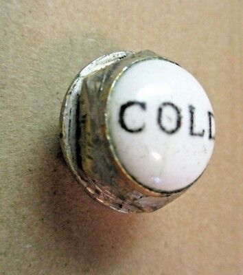"1 Antique Porcelain Plug Button Cold Clawfoot Tub Shower Faucet 1-1/16"" 1/4-20NC"