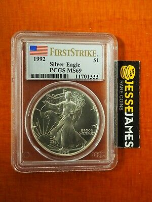 1992 $1 American Silver Eagle Pcgs Ms69 Flag First Strike Rare!