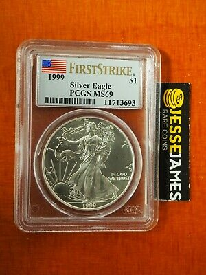 1999 $1 American Silver Eagle Pcgs Ms69 Flag First Strike Rare!