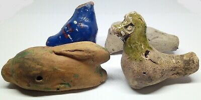 Whistle Clay Ocarina / Duck / Hare / Toy 4pc.  800-1900AD.
