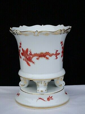 """Antique Meissen """"Red Court Dragon"""" Small Claw Footed Urn / Vase ~ First Quality"""