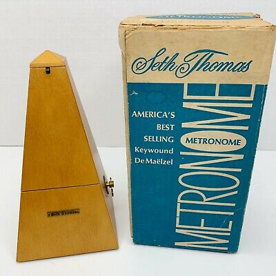 Vintage Seth Thomas METRONOME de Maelzel Wood Wind Up Music Timer USA Orig Box