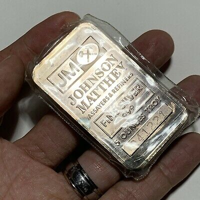SEALED JOHNSON MATTHEY JM 5 Troy oz .999 Fine Silver Bar Vintage