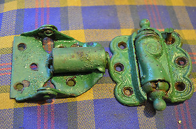 2 Vintage Screen Door Hinges One Old Victorian, One Unique, Rustic Green Paint
