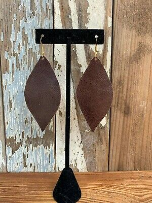 Handmade Unique Real Leather Earrings Genuine Stallon Brown Sterling Silver