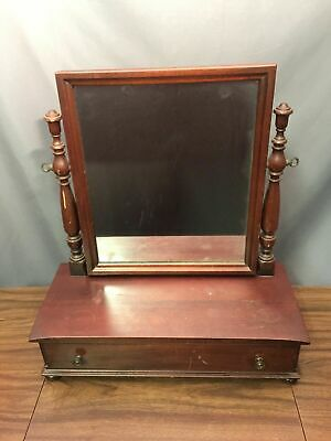 Solid Mahogany Antique Wood Tabletop Mirror Mens Shaving Vanity Drawer Made USA