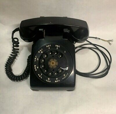 Vintage Black Rotary Desk Phone Western Electric Bell System 1950's C/D 500