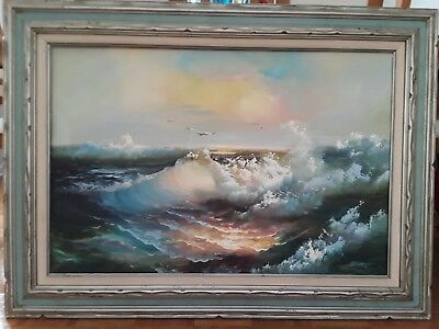 "H.Gailey Original Signed Oil Painting Nautical Seascape Seagulls 24""x36"" Fraimed"