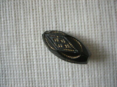 "Vintage Small 11/16"" Black Glass, Spindle Button, Gold Paint - B10"
