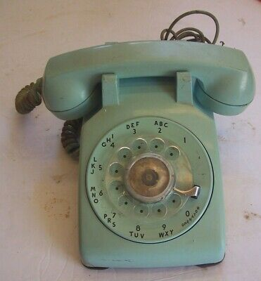 Vintage Aquamarine Turquoise Blue Phone Desk Rotary Dial Western Electric 500 CD