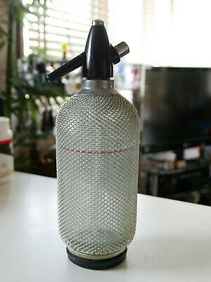 Vintage Large Bar Seltzer Soda Siphon Bottle Glass Wire Mesh Cover