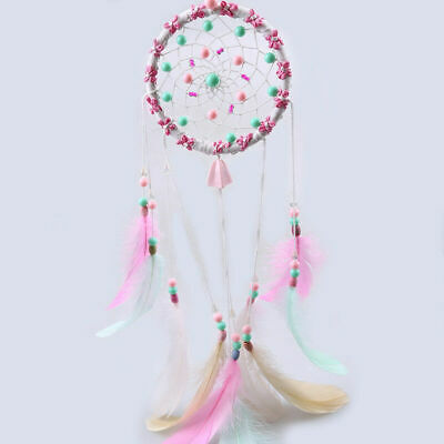 Pink Dream Catcher Wall Hanging Decoration Ornament Feather Craft Girl Window