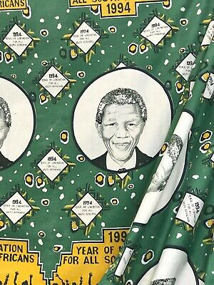 Historic fabric celebrating Nelson Mandela's 1994 ascent to South African Pres.