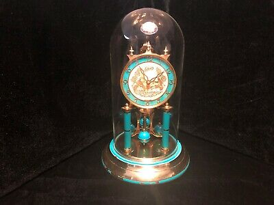 Schatz Turquoise Blue Victorian Face Anniversary Clock With Glass Dome - Working
