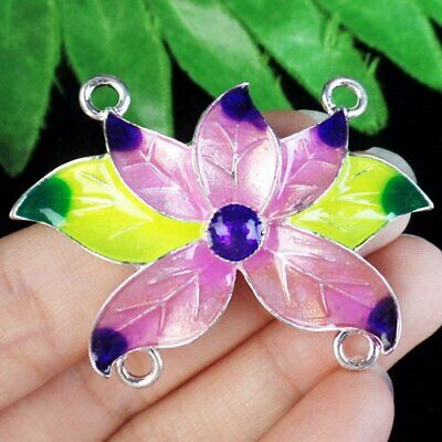 Red Yellow Carved Tibetan Silver Flower Connector Pendant Bead A47148