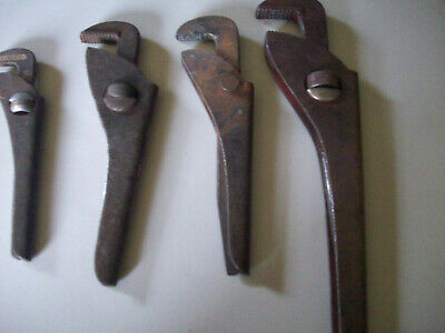 4 x FOOTPRINT ADJUSTABLE PLUMBERS WRENCH MADE IN ENGLAND USED IN GOOD CONDITION