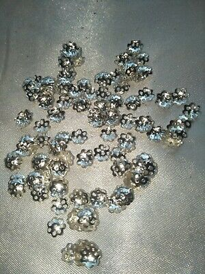 4g fine end caps Bead ends. Silver metal (b2010)